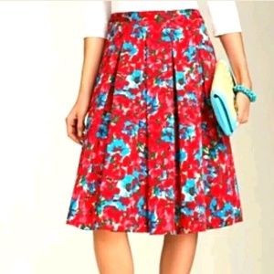 Talbots Red Blue Floral Flare Lined Pleated Skirt